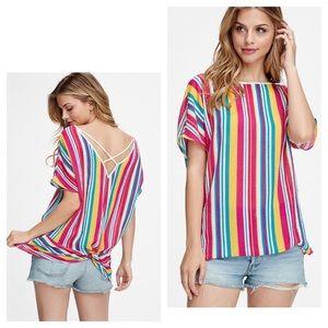 Tops - Bright Multicolored Striped Criss Cross Back Top